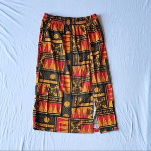 Warm Tone Pattern Midi Skirt